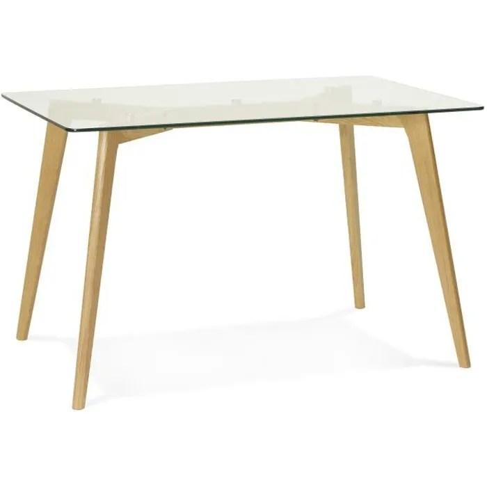 table a manger scandinave en verre 80 x 120 x 75 cm