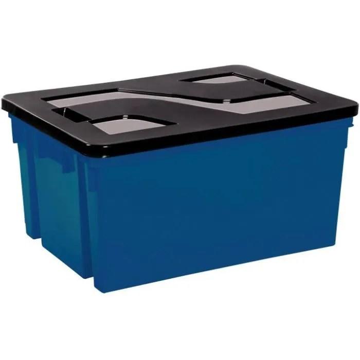bac de rangement avec couvercle en plastique 50 l bleu mineral et noir