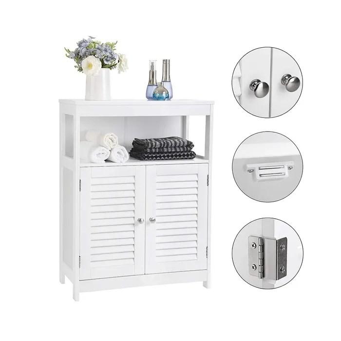 blanc meuble bas de salle de bain armoire de rangement ouvert commode de chambre avec 2 porte claire voie 2 etageres interieur