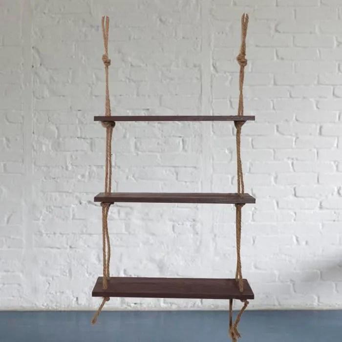 rangement mural etagere suspendue en bois corde de balancoire etageres flottantes presentoir mural en corde de jute a 3 niveaux