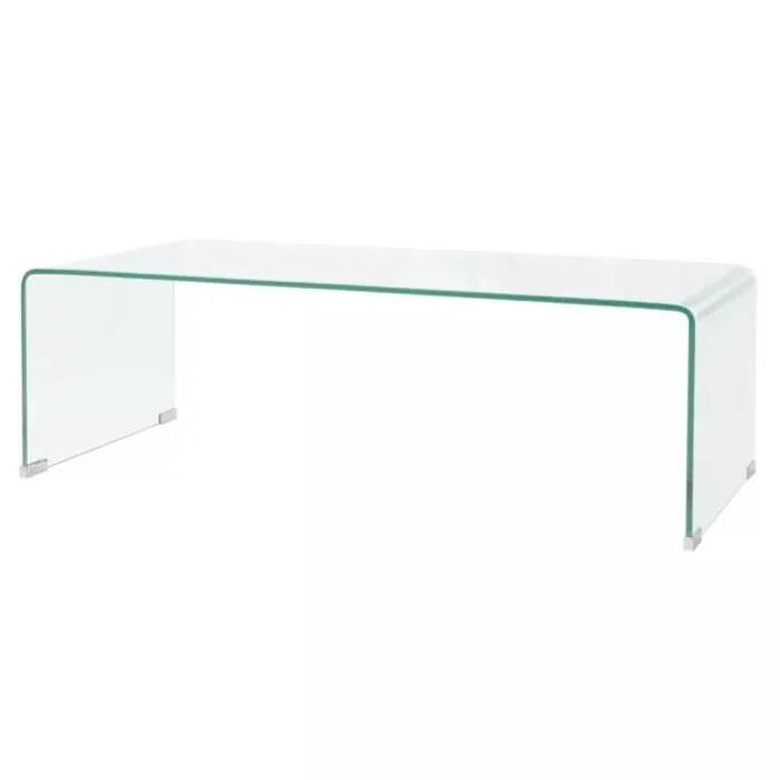 table basse verre trempe transparent 100 cm
