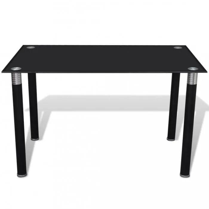 tables de salle a manger et de cuisine table noire avec plateau en verre