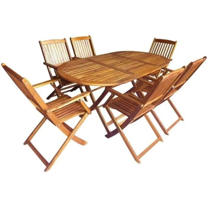 salon de jardin 6 personnes chaises pliantes