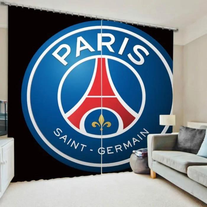 lot de 2 rideaux motif football paris