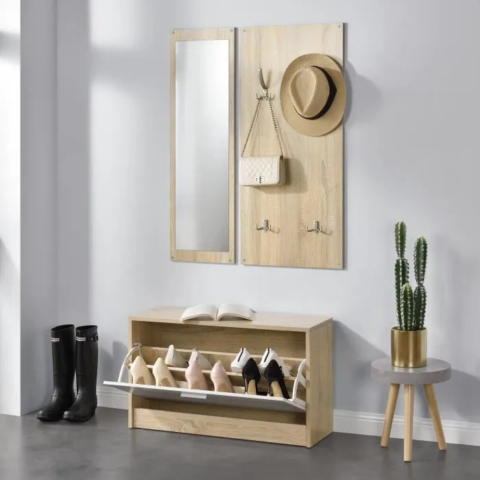 en casa ensemble de meubles pour entree meuble a chaussures avec panneau mural avec 10 crochets pour vos vetements effet