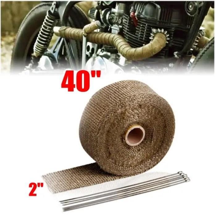 10 m bande thermique isolant de tuyau d echappement tissu en or titane avec 10 colliers de serrage en acier inoxydable