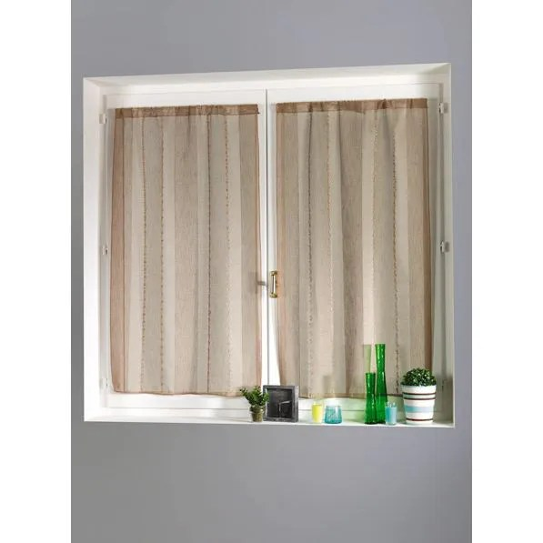 paire 2 rideaux etamine rayures lin 90x120