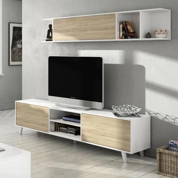 composition mural tv bois et blanc laque