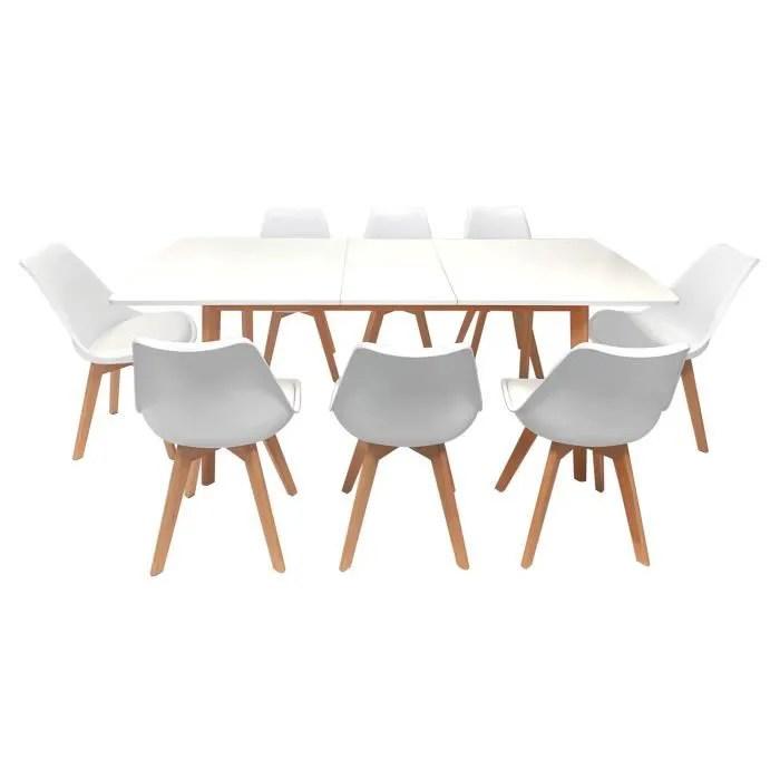 8 chaises scandinave blanc nora