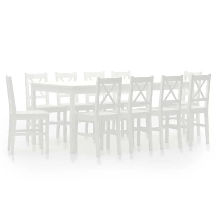 ensemble de salle a manger 11 pcs pinede table a manger de 12 a 15 personnes blanc