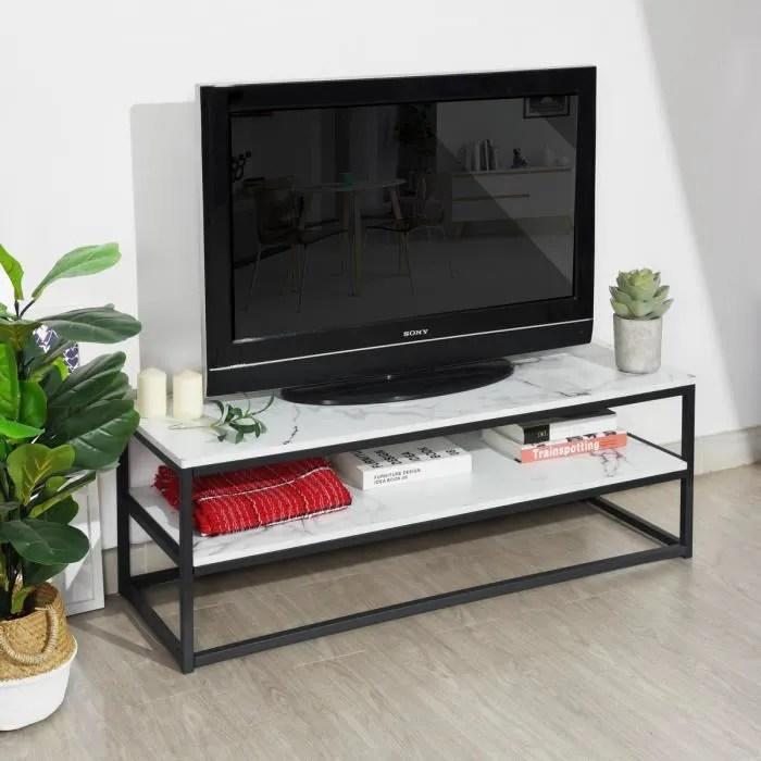 meuble tv multifonction table basse d appoint 120x40x42cm 3 tablettes en panneau de fibres de bois avec marbre papier metal noir