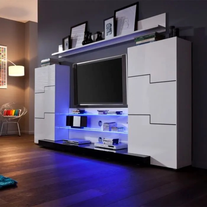 ensemble meuble tv led blanc laque