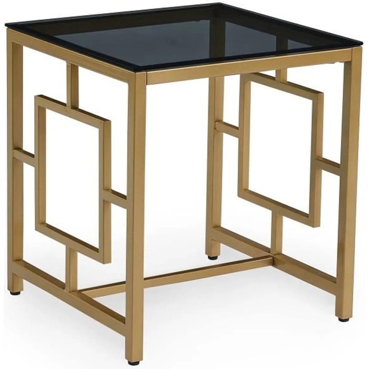 table basse en verre noir et metal dore carree ophir