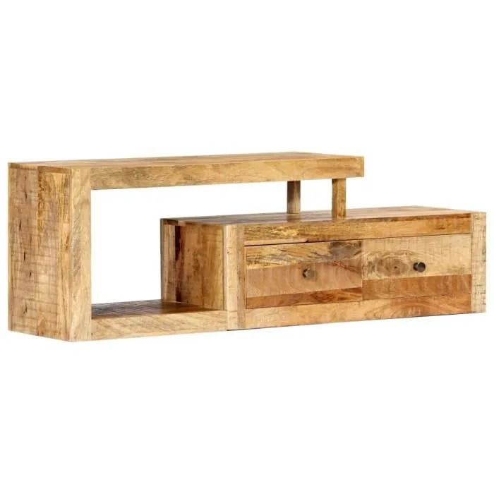 meuble tv bois moderne massif de manguier 120 x 30 x 40 cm