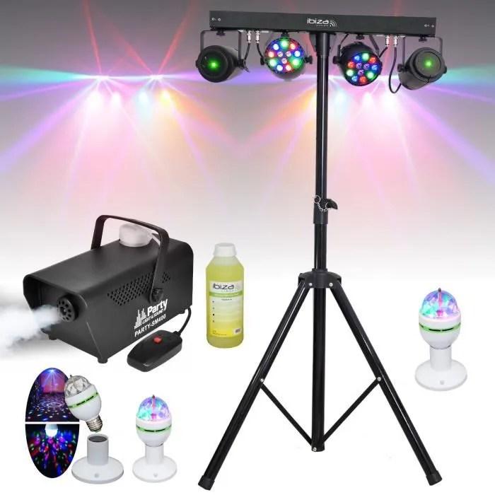 6 jeux de lumiere pied dj machine a fumee produit pack sono light dj ideal soiree dansante bar club famille disco fete noel