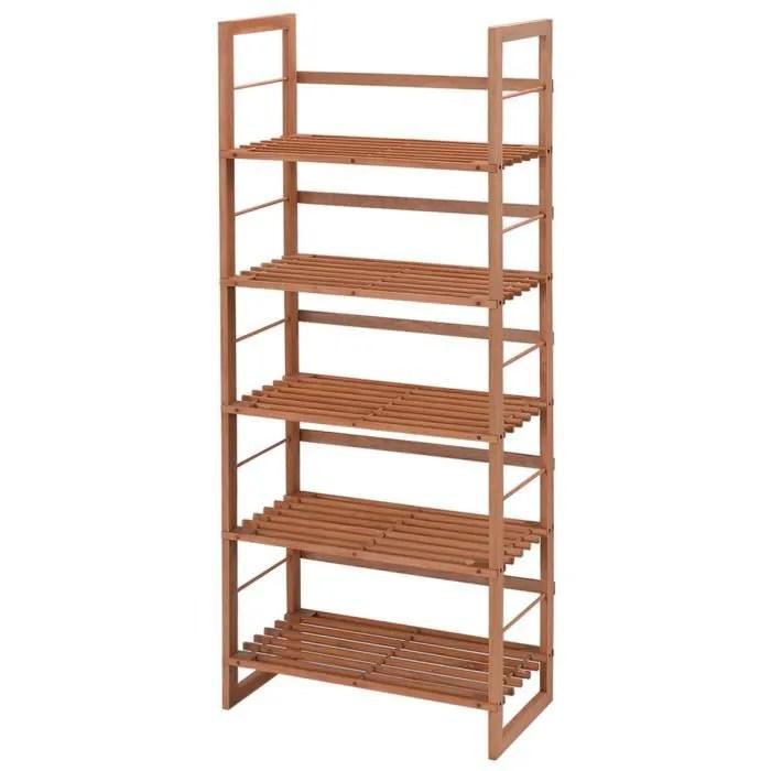 etagere de rangement en bois a 5 niveaux 57 x 26 x 140 cm pour salon chambre cuisine jardin etagere meuble rangement en bois de pin