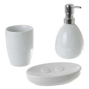 accessoire salle de bain blanc
