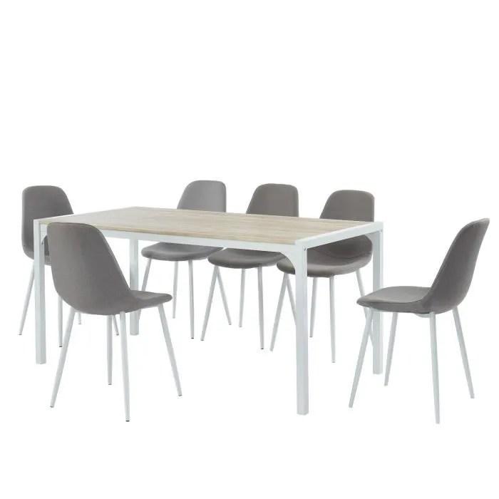 ensemble table a manger 6 chaises tissu gris bois et blanc l 160 x p 80 x h 75cm alpha