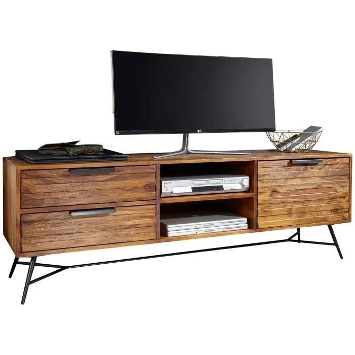 meuble tv design marron rustique en