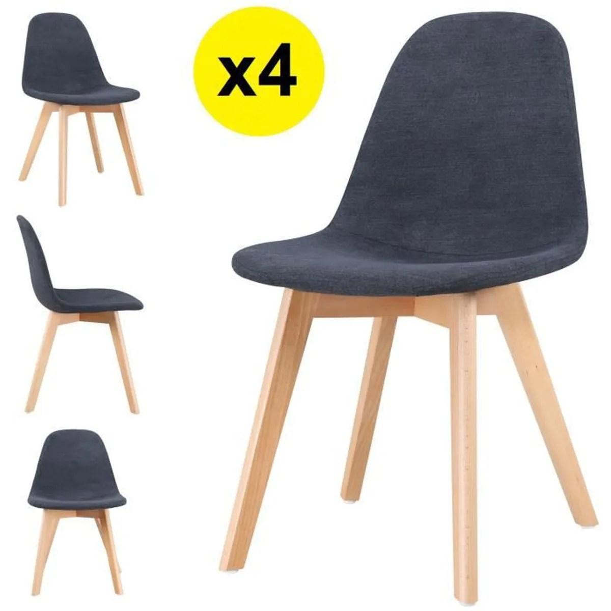 lot de 4 chaises scandinaves tissu gris