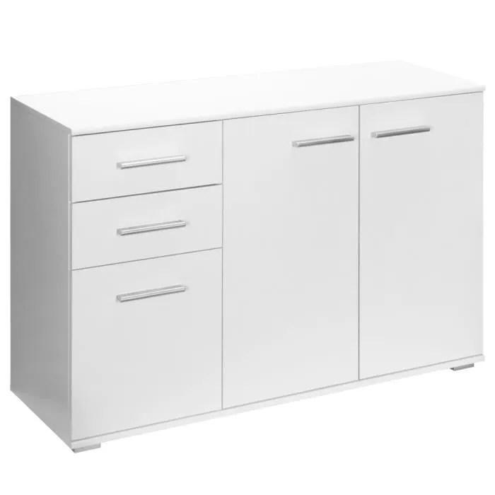 buffet commode blanc avec 3 portes 2 tiroirs meuble de rangement 107 x 75 x 35cm