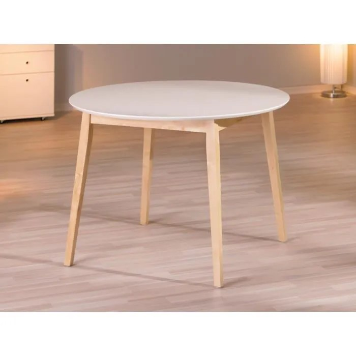 table ronde blanc bois