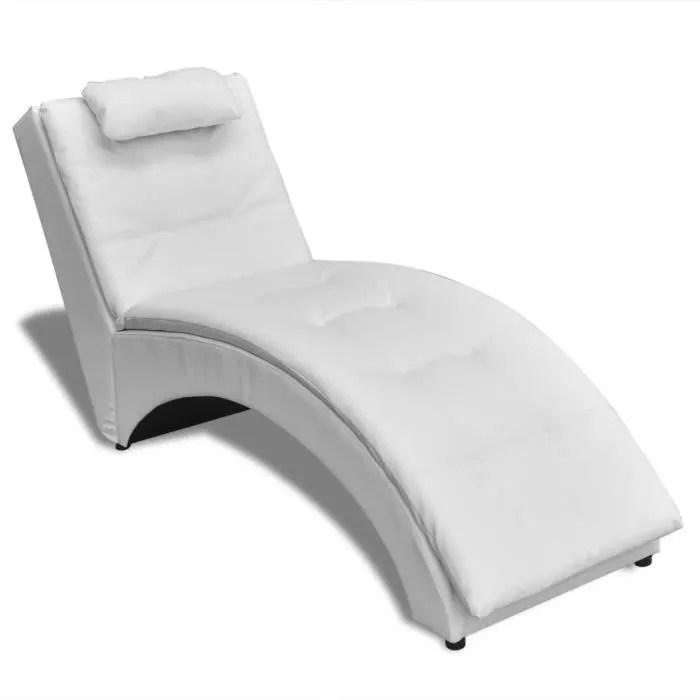 chaise longue avec oreiller cuir synthetique bain de soleil blanc