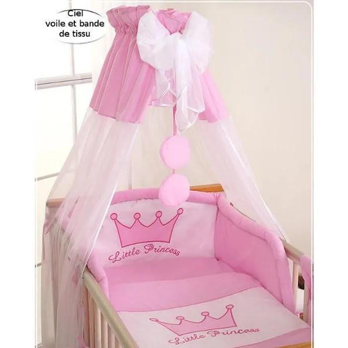 ciel de lit bebe en voile avec bande princesse r