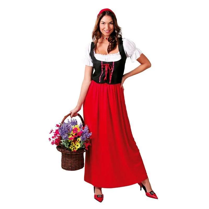 deguisement de paysanne rouge medieval renaissance vicking