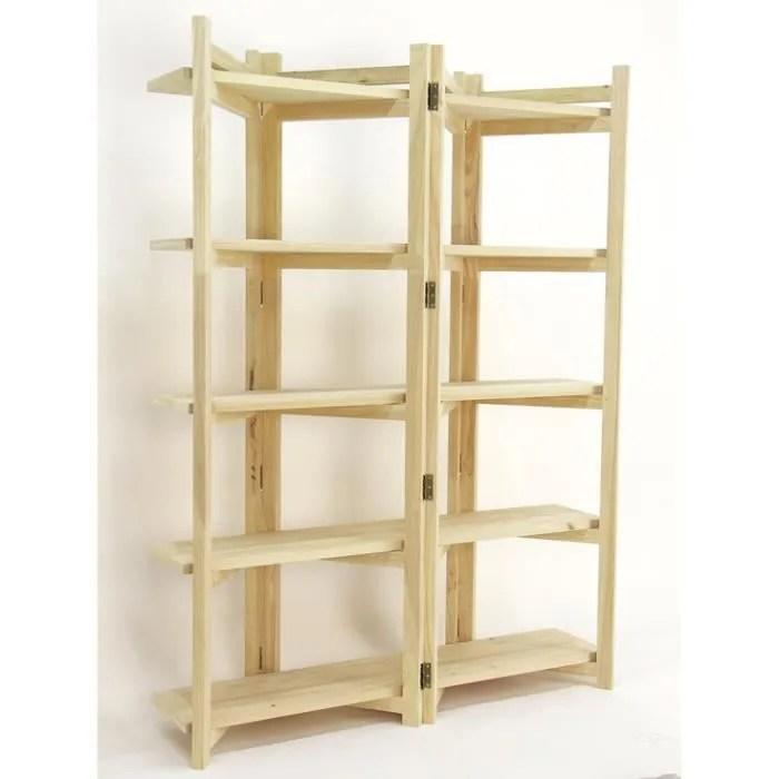 ethnik chic bibliotheque 5 etageres pliantes moken finition bois brut hevea bois brut