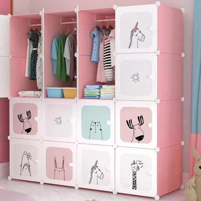 armoire chambre meuble rangement enfant 16 porte