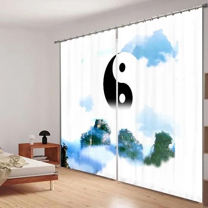 rideaux zen au motif yin et yang 3d