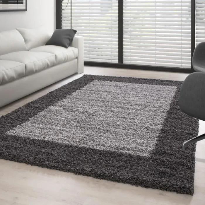 tapis shaggy 160x230 cm gris et blanc