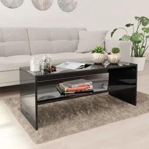 table basse noir laque