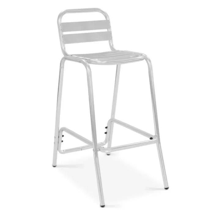 chaise haute de bar en aluminium
