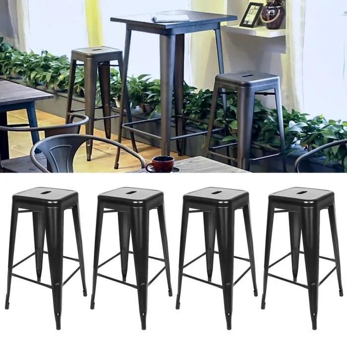 4pcs noir tabouret de bar industriel chaise h