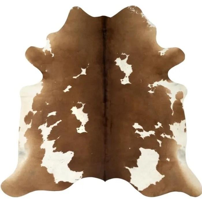 mad tapis en peau de vache veritable marron et bla