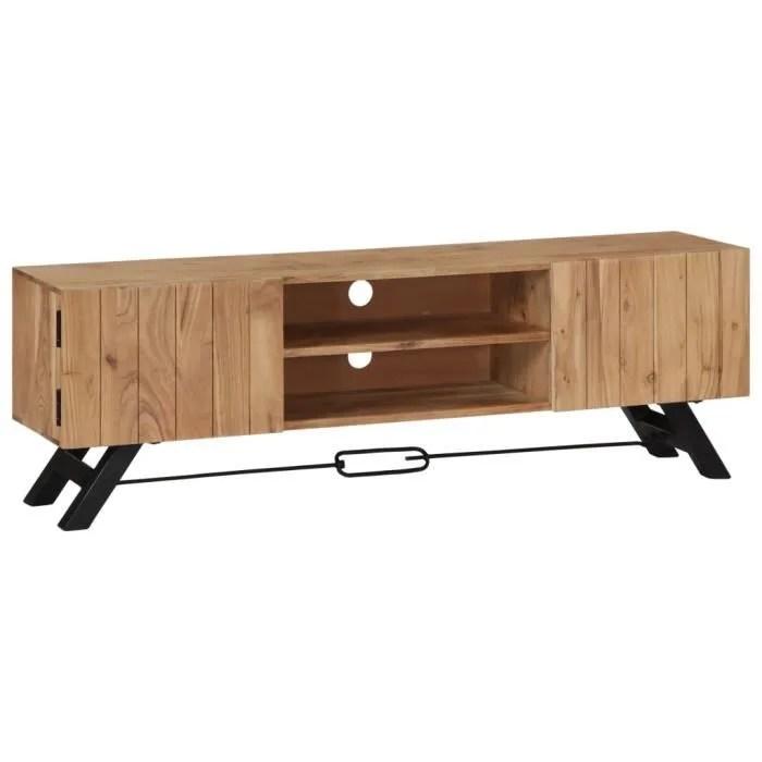 meuble tv 140 x 30 x 45 cm bois d acacia massif av