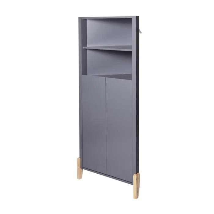 clark meuble d angle 2 portes gris