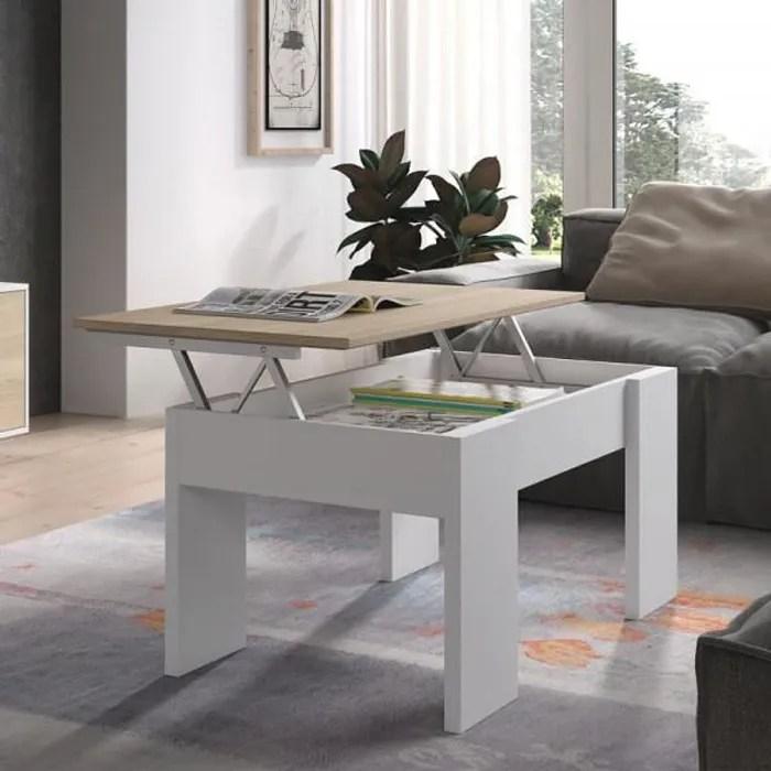 table basse relevable blanc chene clair irvine blanc bois l 100 x l 50 x h 45 cm table basse