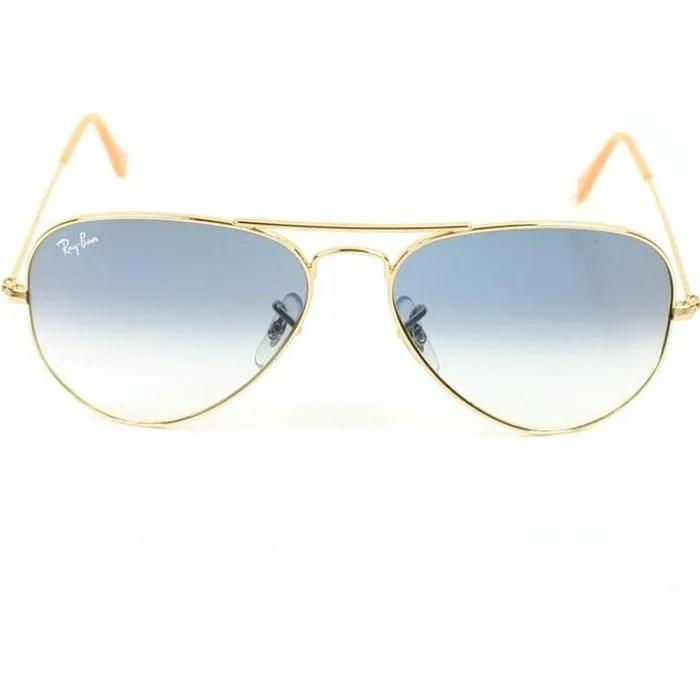 aviator 3025 dore verre bleu degrade t s 55 mm
