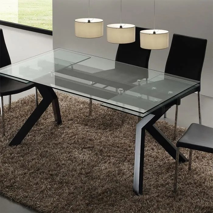 table en verre extensible taupe design aurelia no