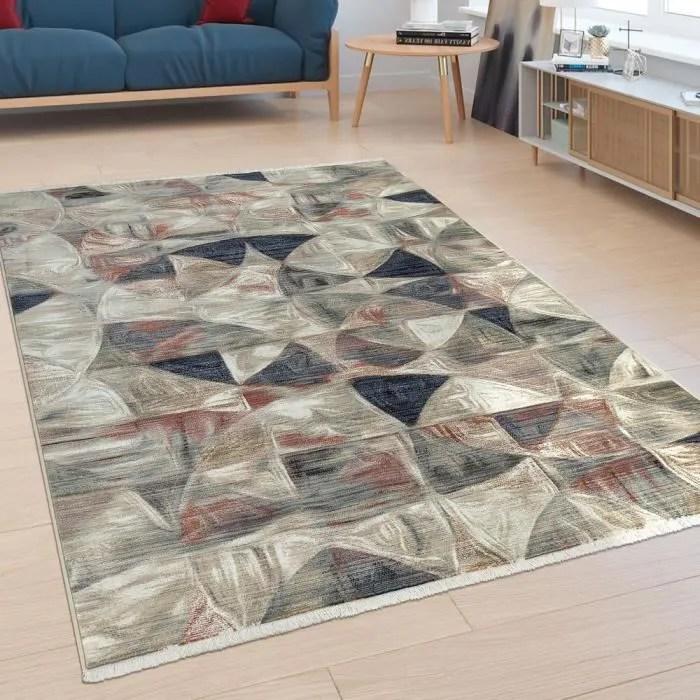 tapis poils ras salon melange de motifs design abs