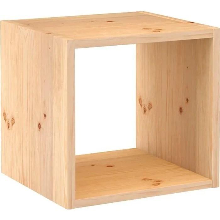 cube de rangement pin masif 36 2 x 36 2 x 33 cm bois brut