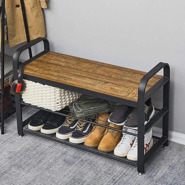 banc a chaussures de style industriel etagere de rangement pour couloir vintage meerveil