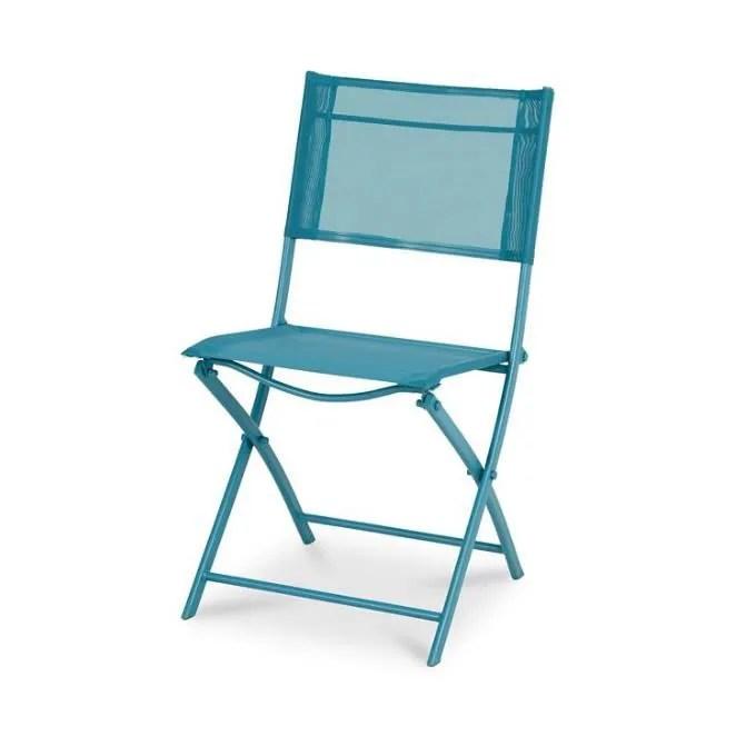 chaise pliante pliable bleu metal pour jardin exte