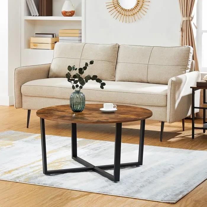 table basse ronde bois metal