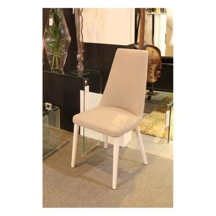 chaise tissu gris pieds bois blanc palm