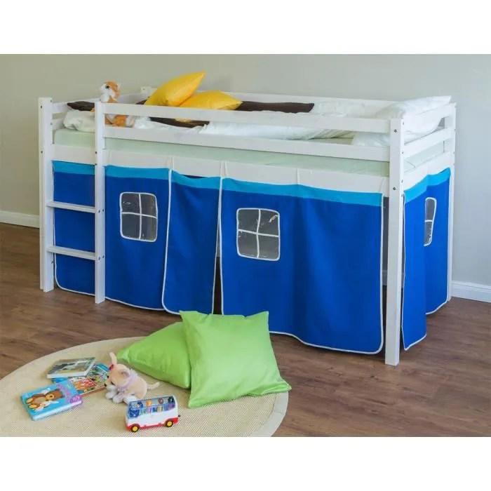 lit enfant superpose en pin massif avec echelle et rideaux bleu
