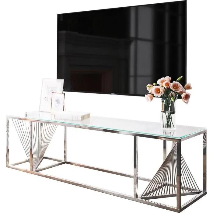 meuble tv design en acier inoxydable poli argente